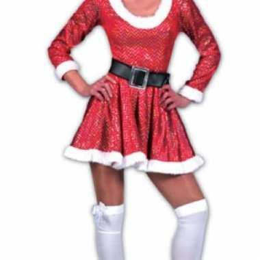Dames glitter kerst jurk met riem en muts