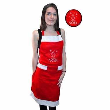 Dames kerst schort rood joyeux noel voor volwassenen