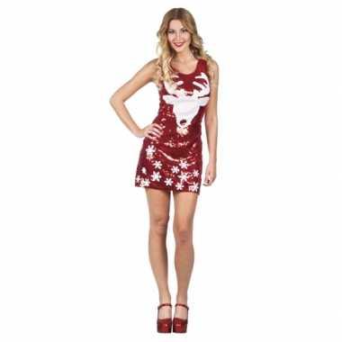 Dames rood glitter kerstkleding met rendier