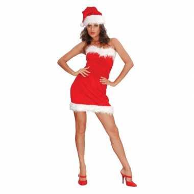 Dames  Strapless kerstkleding met muts