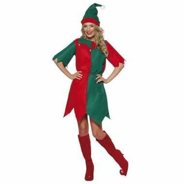 Kerst elf kleding rood/groen voor dames